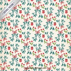 Hand painted floral christmas pattern Free Vector