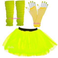 NEON TUTU SKIRT SET  80's FANCY DRESS LADIES HEN PARTY