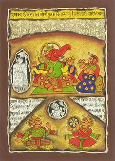 Modakas and Praises for Lord Ganesha (Phad Painting on Cloth - Unframed) Ganesha Painting, Ganesha Art, Lord Ganesha, Indian Traditional Paintings, Indian Art Paintings, Phad Painting, Mural Painting, Dancing Ganesha, Illumination Art