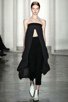 Dion Lee: Fall 14: Opening at the front, revealing the midriff. What if this was worn by a man? what effect would this have on the overall male silhouette? Try experimenting with feminine garments/silhouettes on a male body.