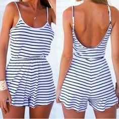 Trendy Spaghetti Strap Striped Backless Women's Romper Jumpsuits & Rompers | RoseGal.com Mobile
