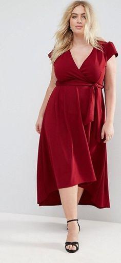 Plus Size Wrap Front Maxi Dress