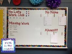 great work organization board. For secondary, I'll divide the board into sections and make a mini-version for each class I teach