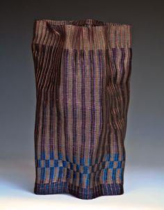 Frances Solar   FSolar-Vessel . Loom woven, copper wire, patina.