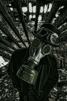 Photograph The Burning by Robert Armstrong on Gas Mask Art, Masks Art, Gas Masks, Gas Mask Tattoo, Clown Tattoo, Surreal Tattoo, Plague Mask, Post Apocalyptic Art, Mad Max