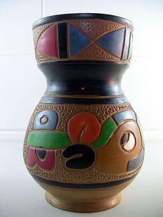 Vintage Pottery Vase Mid Century Vase Geometric Vase Figural