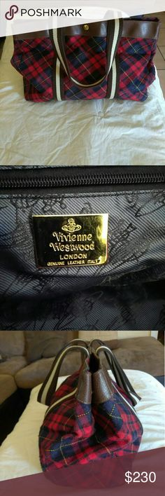 Vivianne Westwood tote bag .pre owned . medium size tote  .plaid  .wool and leather material Vivienne Westwood Bags Totes