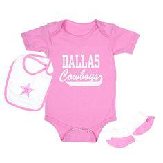 NFL Dallas Cowboys Love Bug Bib & Bootie Set in navy or pink at shop.dallascowboys.com.