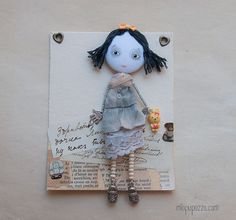Art Doll Brooch Little Lizzy and her Yellow Bunny by miopupazzo