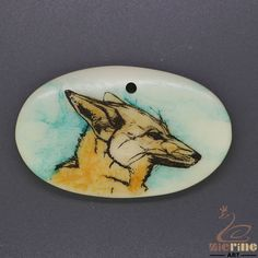 Unique Scrimshaw Pendant  Carved Hand Painted Wolf Stamp ZL201130 #ZL #Pendant