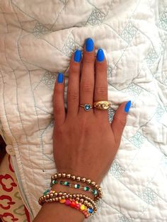 Blue Gel Nails, Blue Acrylic Nails, Simple Acrylic Nails, Rounded Acrylic Nails, Acryl Nails, Nagellack Design, Round Nails, Funky Nails, Fire Nails