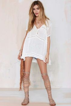 frilly white tunic