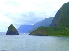 View of Molokai's sea cliffs from Kalawao, on the Kalaupapa Peninsula
