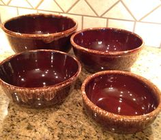 Set of 4 Vintage Kathy Kale USA Pottery Mixing Bowls ~ Brown Drip Design ~ 1960's ~ Nesting Bowls ~ Mid Century ~ Retro ~ Vintage ~ Antique on Etsy, $58.95