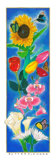 BERRYDA -BUTTERFLOWERS 70 x 25 cm - chima e matita su carta