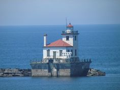 lighthouse at the mouth of Oswego Harbor on Lake Ontario