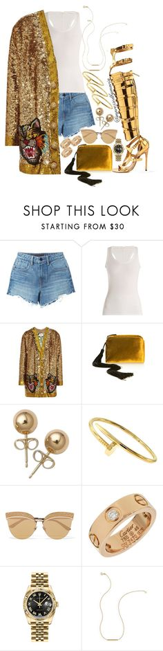 """Golden Barbie"" by mpressed-style-by-maria ❤ liked on Polyvore featuring Alexander Wang, Skin, Gucci, The Row, Bling Jewelry, Cartier, Bottega Veneta, Rolex and Wish by Amanda Rose"