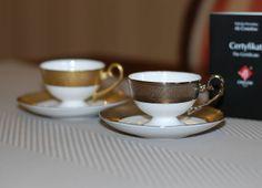 Ewa espresso Royal cups with platinum and gold decoration  Filiżanki Ewa espresso Królewska ze złotą i platynową dekoracją