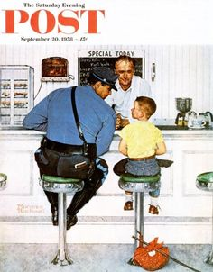 """Norman Rockwell """"Saturday Evening Post"""" cover from 1958. The setting is based on Joe's Diner in Lee, Mass."""