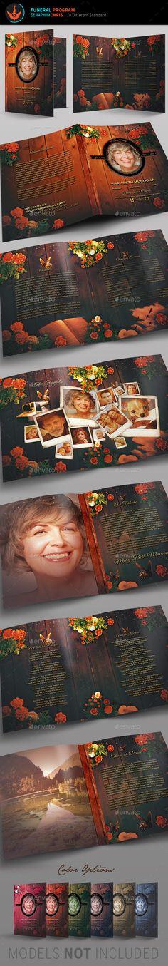 Mothers Funeral Program Template - Informational #Brochures Download here: https://graphicriver.net/item/mothers-funeral-program-template/3364218?ref=alena994