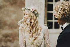 """We Love Everything About This Bride's Dreamy Look #refinery29  http://www.refinery29.com/green-wedding-shoes/22#slide-5  """"The first look was definitely the highlight for both of us,"""" Hildegunn says. The smiles on these faces are the sweetest. ..."""