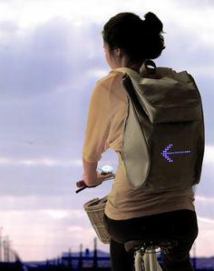 Sell Bag is designed to show left and right turn signal of a bicycle rider.