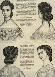 Ladies Of The La Modes Illustree for November 1862 Source by darlinedemott Civil War Hairstyles, Historical Hairstyles, Victorian Hairstyles, Vintage Hairstyles, 1800s Hairstyles, Ladies Hairstyles, Historical Costume, Historical Clothing, Victorian Era Fashion