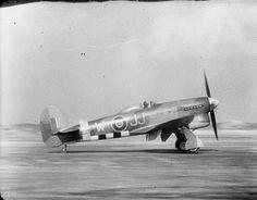 Hawker Tempest Mark V, EJ714 'JJ-W', of No. 274 Squadron RAF, begins it take off run at B80/Volkel, Holland.