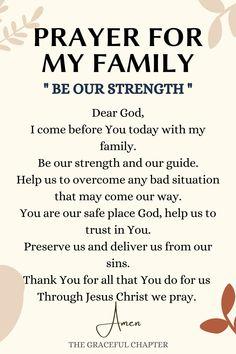 Prayer Scriptures, Bible Prayers, Catholic Prayers, Faith Prayer, Bible Verses, Prayer For My Family, Prayer For My Children, Prayer For You, Family Prayer Quotes