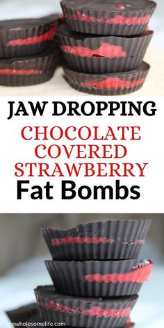 Keto and low carb strawberry fat bombs recipe. Super easy recipe made with chocolate and coconut oil that is dairy free and gluten free. Recipes low carb Chocolate Covered Strawberry Fat Bombs - One Wholesome Life Keto Chocolate Fat Bomb, Chocolate Recipes, Chocolate Art, Protein Snacks, Keto Snacks, Sin Gluten, Fun Easy Recipes, Easy Meals, Keto Recipes