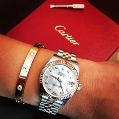 """8,261 Likes, 118 Comments - Rolex Watches Swiss Luxury (@rolexaholics) on Instagram: """"Lady Rolex Datejust with MOP dial x #Cartier bracelet from @evolutionautoworksinc @jennalyn_b"""""""