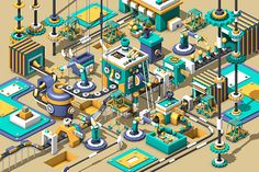Robot clone factory  by Roy Park, via Behance