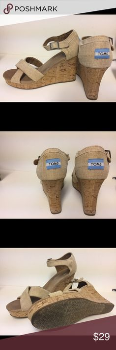 "TOMS strappy wedges - size 10 - burlap 🙂 Great padding like all of these Toms wedges. Heel is approx 3.5"", less with slight platform at front. Burlap look to straps, cork heel.  Only worn a couple of times 🙂 TOMS Shoes Sandals"