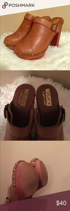 """Jeffrey Campbell's Charli Clogs Studded Clogs. Convertible wooden heeled platform clogs. Can be worn as a mule or slingback. approximately 5""""heel, 1""""platform. Buckle closure. Camel color. Jeffrey Campbell Shoes Mules & Clogs"""