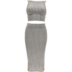 Mia Round Neck Rib Knit Midi Co-Ord Set (2.02 CAD) ❤ liked on Polyvore featuring dresses, grey and one piece