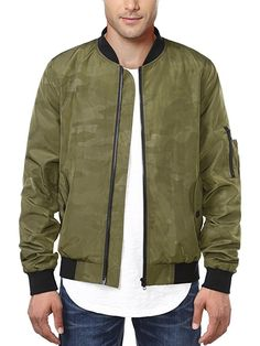 Music in Space Mens Bomber Jacket Fashion Track Jacket Baseball Coat Stand-up Collar Jacket