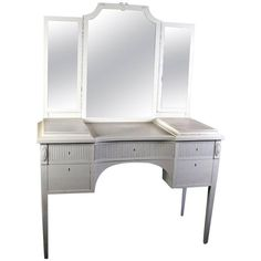 View this item and discover similar for sale at - Early century, antique Swedish Gustavian three mirror carved dressing table in later white paint with five drawers. It has the original bevel glass Classic Dressing Tables, Table Furniture, Furniture Design, Modern Vanity, Kingdom Of Great Britain, Beveled Glass, White Paints, Home Improvement Projects, Furniture Makeover