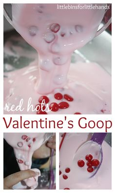Quick and easy, 3 ingredient Valentines Goop for science sensory play! Learn about science through hands on play with Valentines goop or oobleck. Simple fun