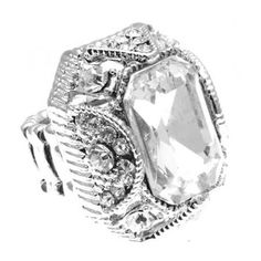 Amazon.com: Crystal Cocktail Stretch Ring Clear R3 Emerald Cut: Jewelry