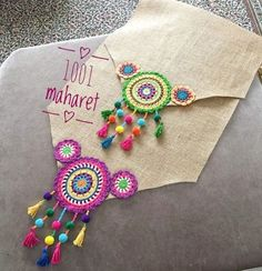 Best 12 Bohostyle Dream catchers bright color knitted dream catchers handmade wall decor home decor wall hanging dream catcher Mandala Au Crochet, Crochet Motifs, Crochet Flowers, Crochet Patterns, Mandala Pattern, Crochet Home, Crochet Crafts, Crochet Projects, Knit Crochet
