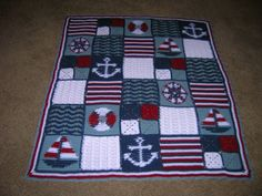 Nautical Baby Afghan - anchor - sail boat - compass - life preserver - waves - ocean - rope - crochet - blocks