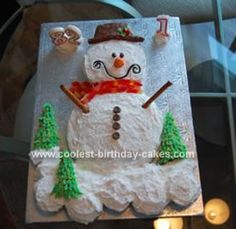 Homemade  Snowman Birthday Cake... This website is the Pinterest of Christmas cakes