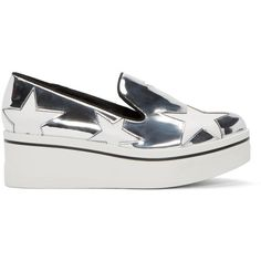 Stella Mccartney Silver Star Platform Binx Sneakers (2.000 BRL) ❤ liked on Polyvore featuring shoes, sneakers, platform slip on shoes, slip on shoes, animal trainer, round toe sneakers and platform slip on sneakers