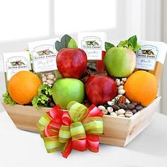 Our Healthy Choice Basket contains a variety of fruits, apples, pears and oranges. Additionally, we have included Nunes Farms snacks to pair with the fruits. Recipes Using Fruit, Corporate Gift Baskets, Fruit Gifts, Gourmet Gift Baskets, Variety Of Fruits, Flowers For You, Fruit In Season, Delicious Fruit, Fruits Basket