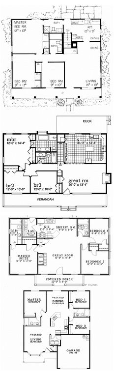 Below are selections of 3 bedroom floor plans from eplans.com