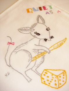 Mouse+Hand+Embroidered+Dish+Towel+Kitchen+Towel+by+Kleymannscloset,+$9.50
