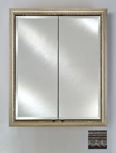 """Afina Corporation DD2430RTUSSV 24 in.x 30 in.Recessed Double Door Cabinet - Tuscany Silver by Afina Corporation. $1015.00. 6 Glass Shelves.. Rough Wall Opening: 21 x 27.. Signature Double Door Cabinet.. Outside Dimensions: 24 x 30.. 3/4 Perimeter bevel mirror standard.. Signature Double Door Cabinet. Outside Dimensions: 24"""" x 30"""". Rough Wall Opening: 21"""" x 27"""". 6 Glass Shelves. 3/4"""" Perimeter bevel mirror standard. 3/8"""" Thick adjustable glass shelves. Gray satin ano..."""