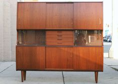 danish modern walnut hutch with built in bar from a unique collection of antique and