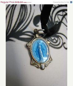 One Day Sale Half Off Old Virgin Mary Silver Blue by Glamaroni, $9.00