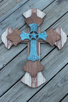 Western Decor Turquoise & Brown Wall Cross